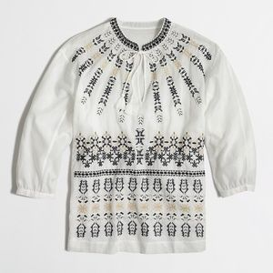 J. Crew Embroidered Tunic Top